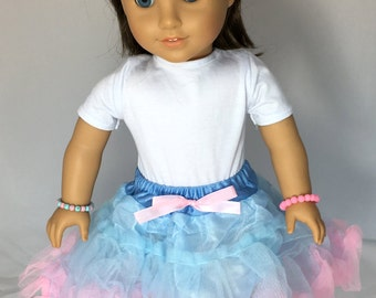 """Pink & Blue Pettiskirt Doll Outfit Fits 18"""" American Girl Dolls"""