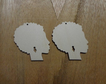 Woman W/Afro Wood Custom Color Request Earrings