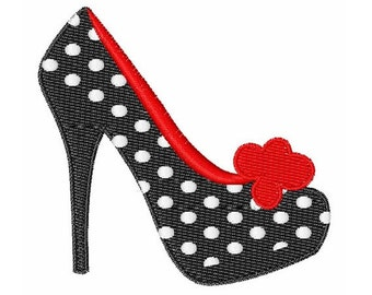 High Heel Polka Dot Shoe - Machine Embroidery Design