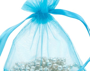 100 Turquoise Organza Gift Pouch Wedding Favour Bag Jewellery Pouch- 6 Sizes