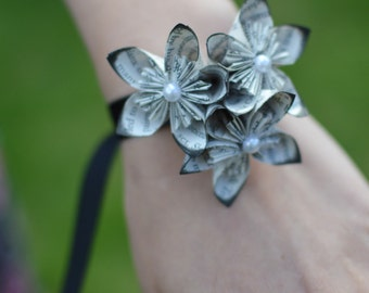 Corsage - Kusudama Origami Flowers on Black Satin Ribbon - perfect for PROM or WEDDINGS