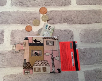Black cat in Paris coin purse, Coin purse, Change holder, Handbag organizer, Cat lover