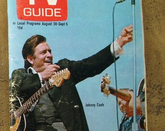 1969 TV Guide with Johnny Cash on the Cover – Vol.17, No.35 – August 30, 1969 – Issue #857