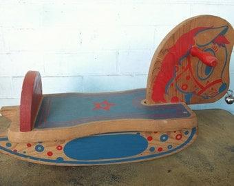 Vintage 1960s Wooden DEKTO Child's Rocking Horse Toy