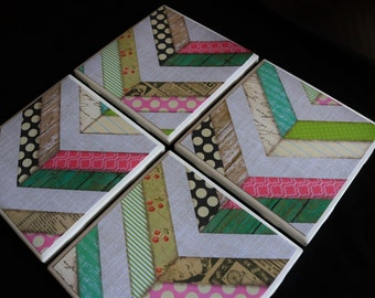 Table Coasters - Chevron Coasters - Coaster - Tile Coaster- Chevron Decor - Coasters for Drinks - Coasters Tile - Handmade Coasters