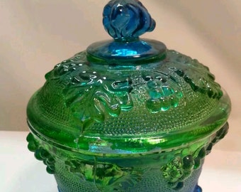 Vintage green and grape carnival glass candy dish