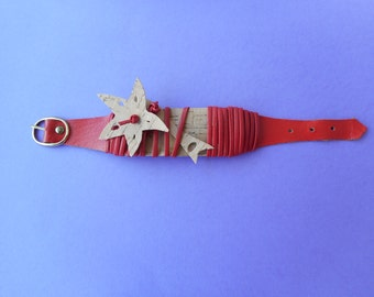 Bracelet, silver bracelet, red and applications in horse mackerel, starfish and fish