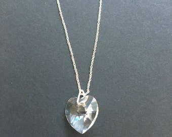 Swarovski Crystal Heart on sterling silver chain necklace