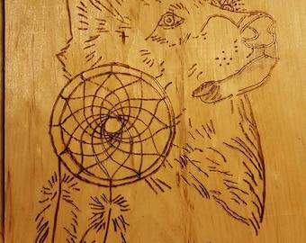 Wooden Wolf Dream catcher plaque