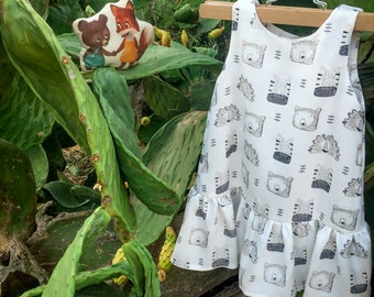 Bears Animals Print dress for Girls. size 18m size 2 size 3 size 4 size 5 size 6 size 7 size 8 size 9 size 10 size 11 size 12