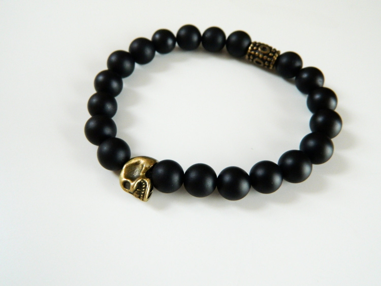 onyx bracelet skull bracelet black bead bracelet black onyx