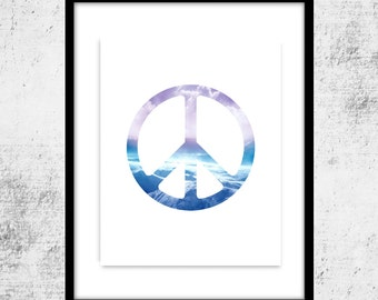 Peace Sign Art Instant Printable Art Download, Tranquil Peace Print, Wall Art, Home Decor