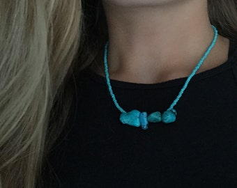 Turquoise Seed Beaded Necklace with Turquoise Pendants 16 inches