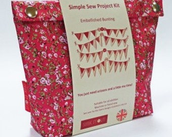 Liberty inspired Print Fabric Beginners Sewing Kit - Pretty, Floral / Polka Dot Embellished Bunting (Bright)