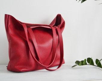 Large leather tote bag, Leather tote, Tote bag leather, Tote bag, Leather tote woman, Leather tote, Leather tote - ROME bag - Red Tote Bag