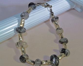 Rutilated Quartz with Silver Accents Bracelet