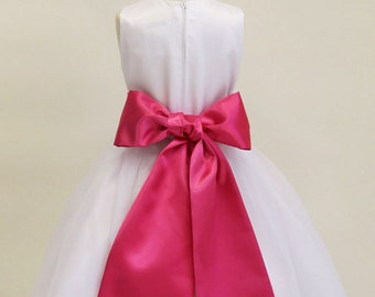 Buy 1 Get 1 Free Designer US Angels- HOT PINK Satin Tapered Flower Girl Dress Sash