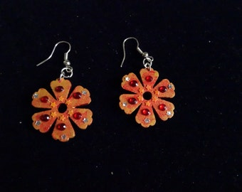 Earrings Golden Flower and Red Stone - room single-Nickel free