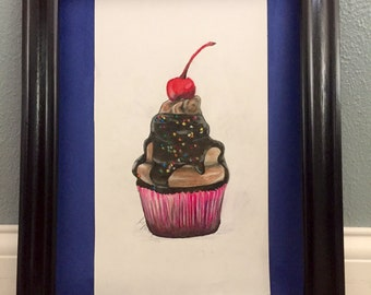 Cupcake Colored Pencil Original Drawing