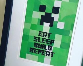Black foil Minecraft inspired framed print