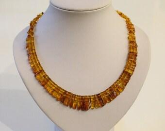 Natural Baltic Amber Necklace, cognac color