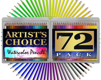 """Watercolor Pencils - HUGE 72 pack - 7"""" Water Soluble High Quality Colored New - FREE SHIPPING"""