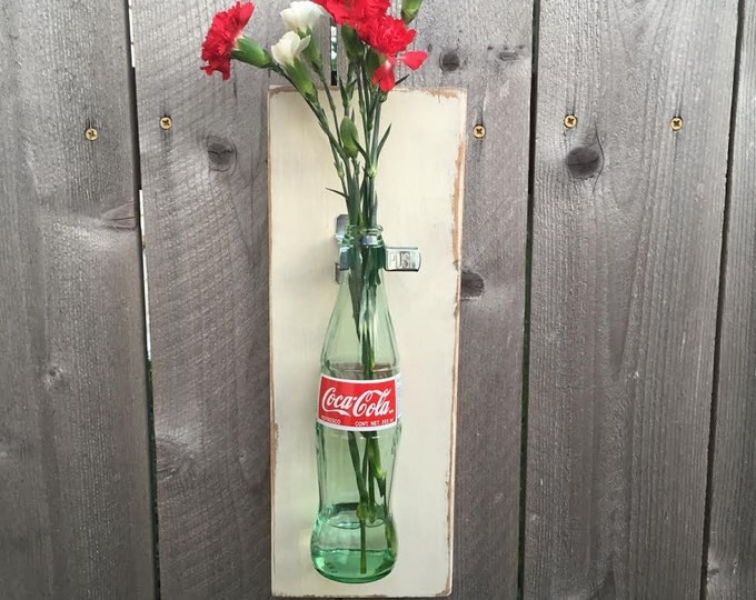Rustic Shabby Chic Wall Vase / Wall Hanging Coke Bottle Vase / Rustic Wedding Gift / Farmhouse style / Cream Distressed Wall Vase