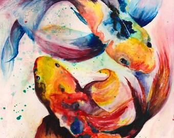 OOAK Watercolour-Koi Carp