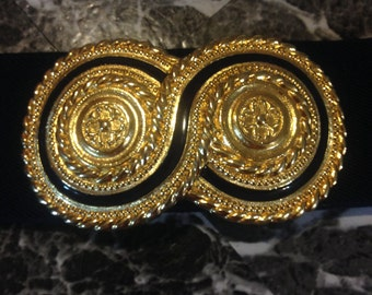 1980s DAY-LOR vintage designer gold and navy waist cinching belt