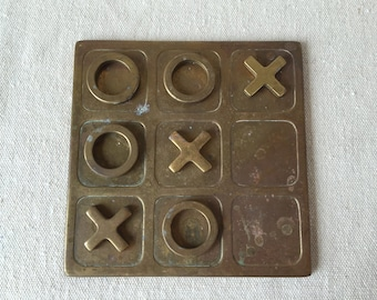 Brass tic-tac-toe set
