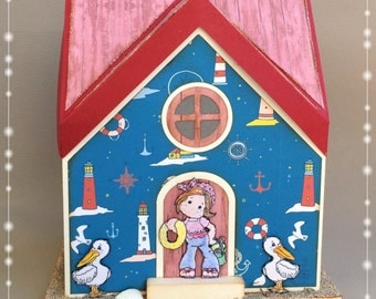 """Home by the sea"" decoration, illuminated maritime, handmade, gift"