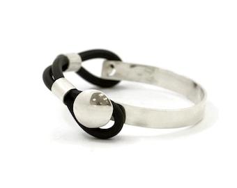 black & Silver Bracelet, black rubber Bracelet, 925 silver Bracelet, silver jewelry, rubber jewelry, black Bracelet, women bracelet, rubber