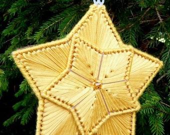 Gold Christmas Star Ornament Ribbon Embroidery Kit