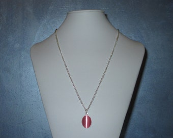 Pink Cats eye pendant necklace