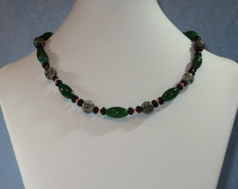 Green, black and Spiderweb necklace