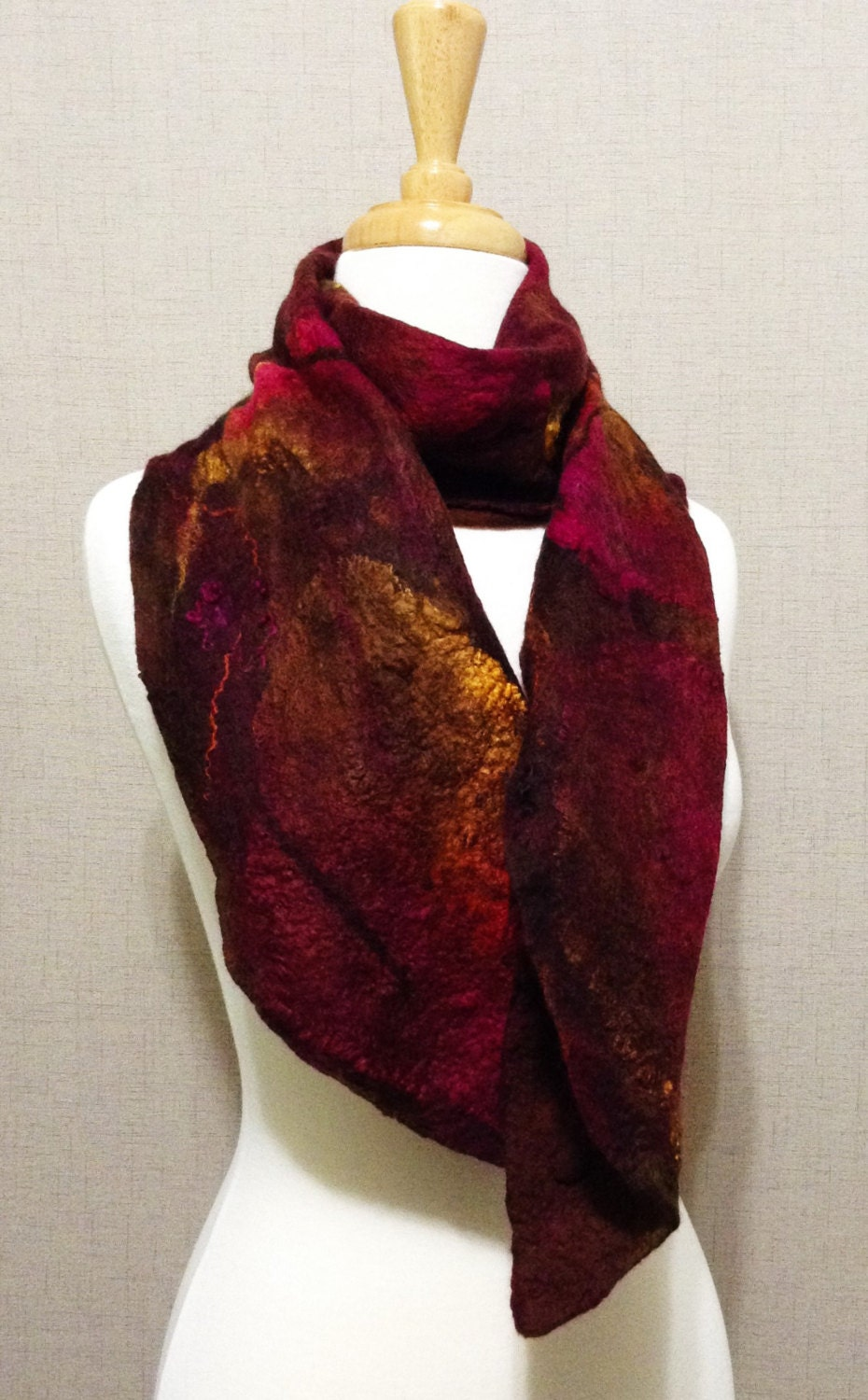 nuno felted scarf fall colors felted brown wine and