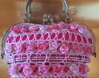 Dainty Pink Flowers with rhinestones Evening Bag