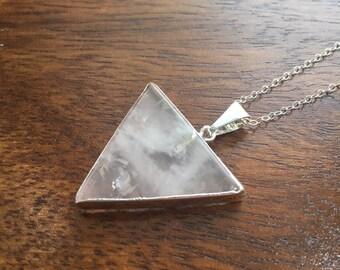 Rose Quartz 925 Sterling Silver Triangle Necklace
