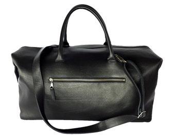 Weekender travel bag leather bag black leather