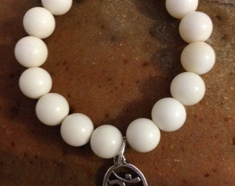 White Coral Stone Stretch Bracelet