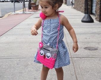 Little Girl Little Flower Purse in bright pink, baby girl gift, flower girl purse, bag