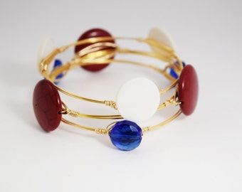 Red, White, and Blue Bangles- Patriotic Bangles- Fourth of July Bangles- Bracelets
