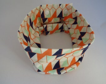 Scarf infinite - baby and children - green, Orange and blue Triangles