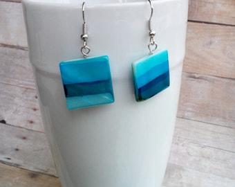 Blue waves dangle earrings