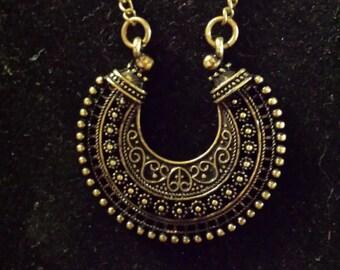 Antique Brass & Black necklace