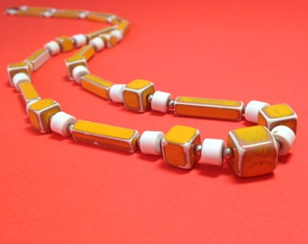 Mid-century mustard and white beaded necklace