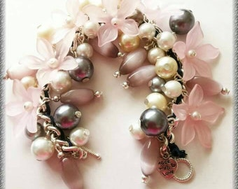 Bright and beautiful floral charm bracelet in vibrant purple, grey and pinks /bling/charm/summery/silver plated 20cm