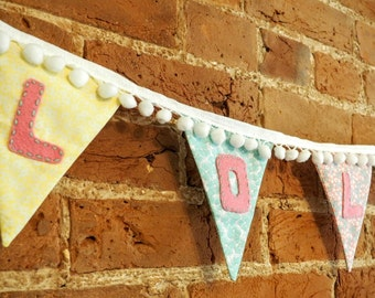 Girls Multi-Coloured Personalised Name Bunting with PomPom trim
