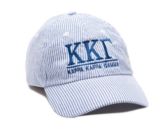 KKG   Kappa Kappa Gamma Monogrammed Seersucker Line Baseball Hat.