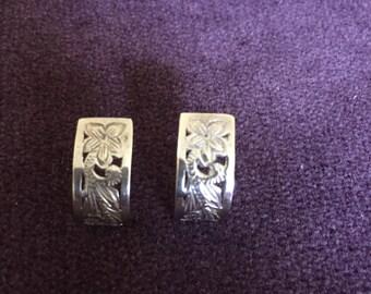 Hawaiian Plumeria Sterling Silver Earrings